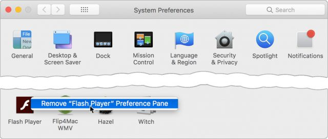 Deleting a third-party preferences pane.