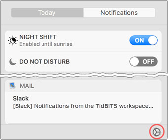 A shortcut to notification preferences.