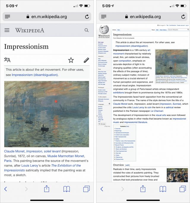Screenshots showing the difference between Wikipedia's mobile and desktop sites.