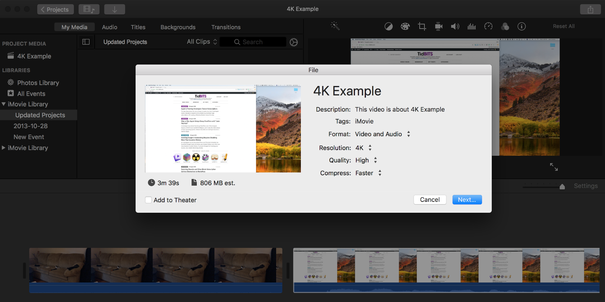 TipBITS: Make iMovie Output Full-Resolution Video - TidBITS