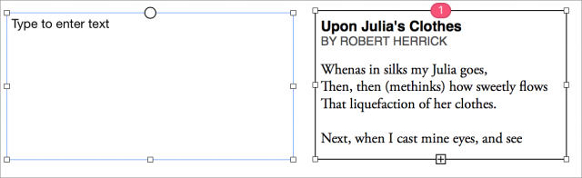 How text box linking looks in Pages 5.