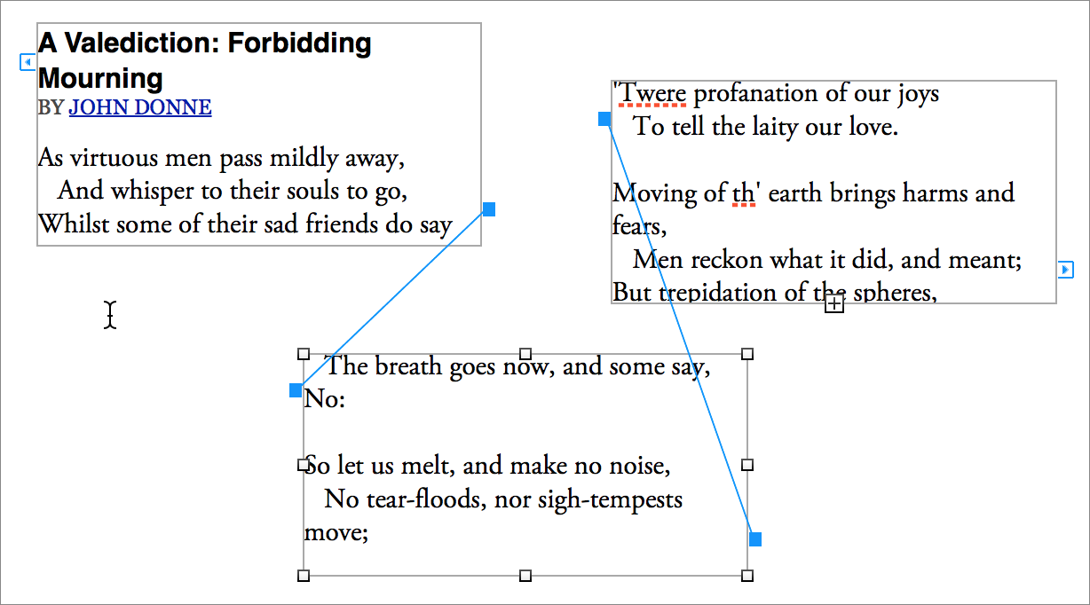 Drawing Lines Between Text Boxes : How to use linked text boxes in pages tidbits