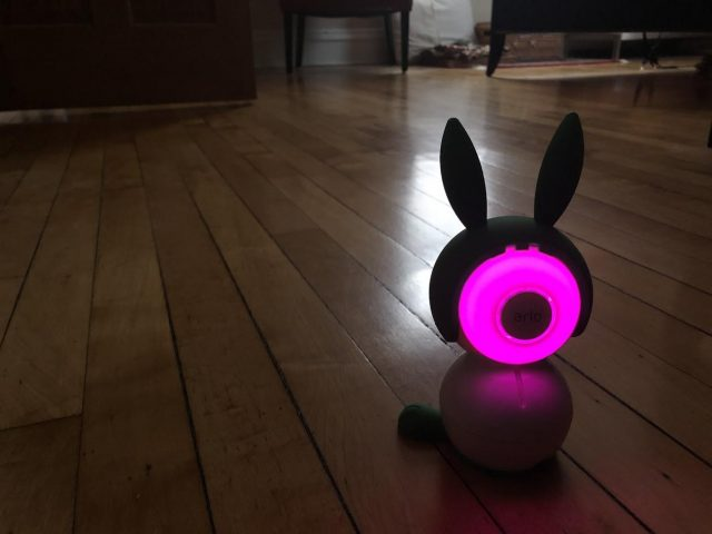 A glowing Arlo Baby with bunny ears.