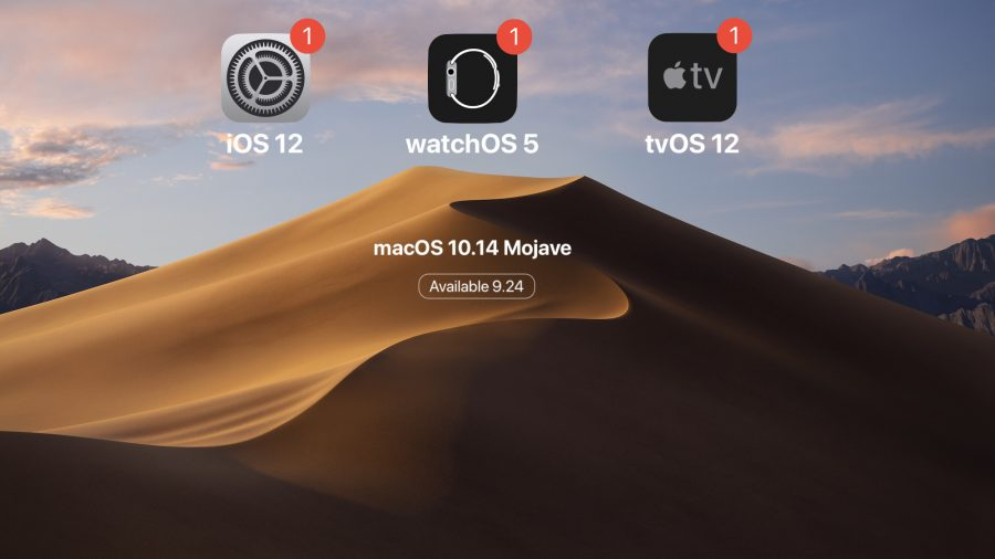 OS updates on a Mojave background.