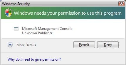 Windows Vista User Account Control prompt.