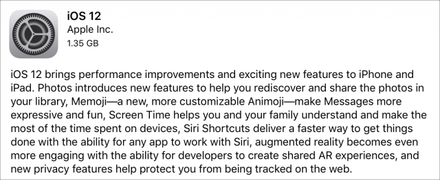 iOS 12 release notes.