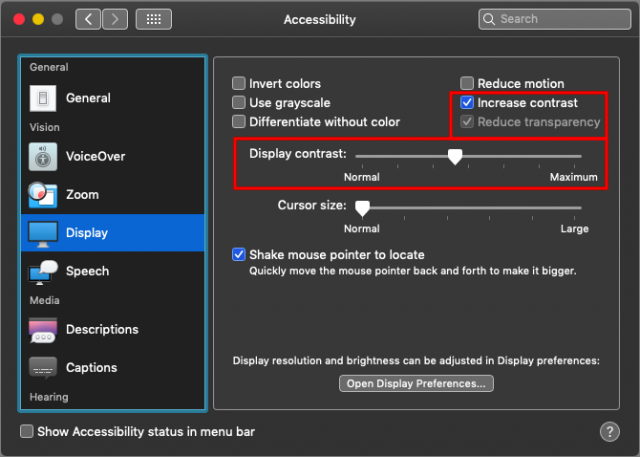 Adjusting Dark mode with Accessibility settings.