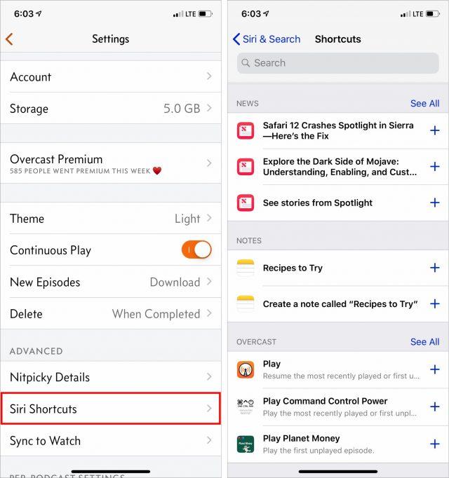 Siri Shortcuts in the Settings app.