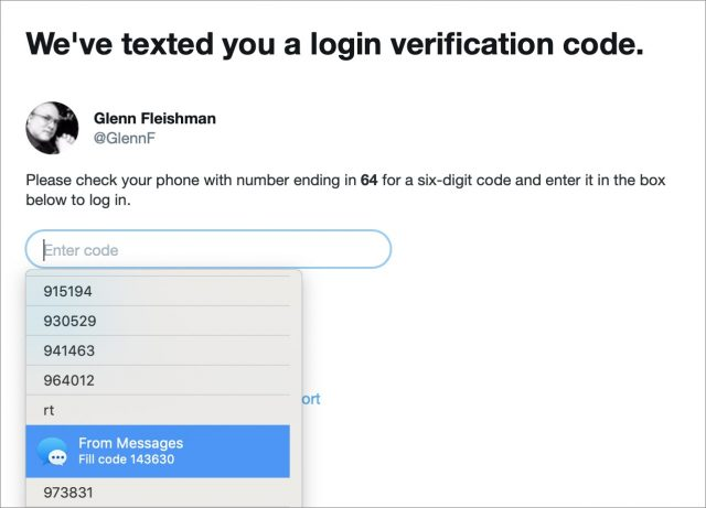 SMS Text Message Login Codes Autofill in iOS 12 and Mojave, but