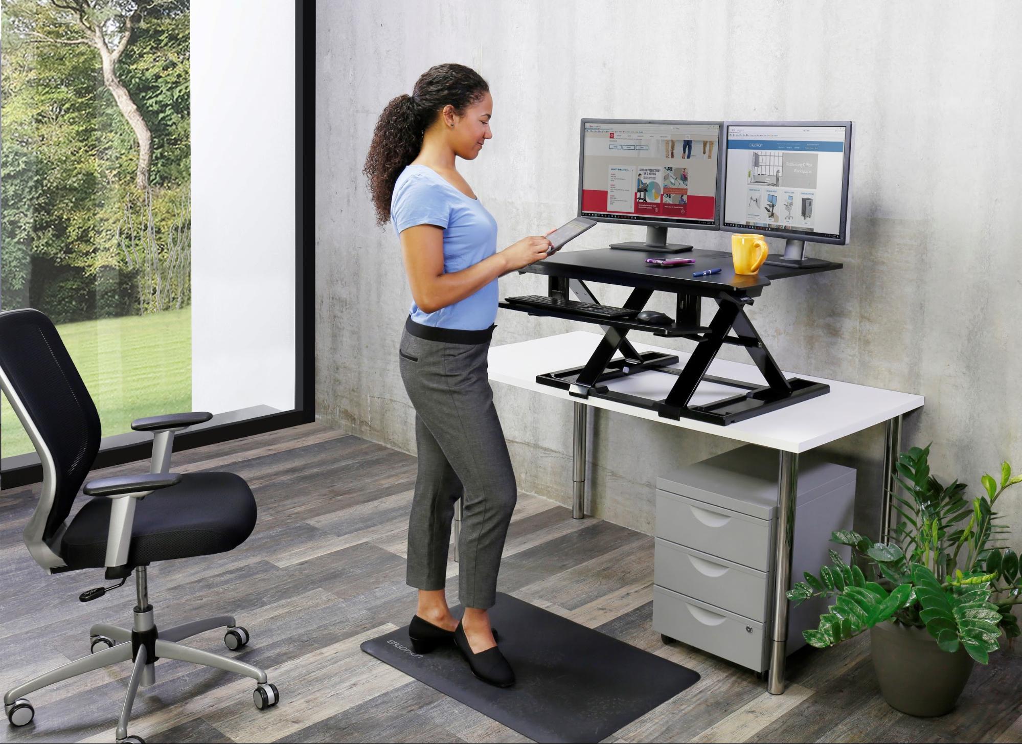 Ergotron WorkFit-TX Sit-Stand Desk Converter Works Well ...