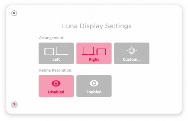 Luna control on iPad.
