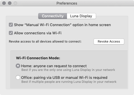 Luna Display preferences.