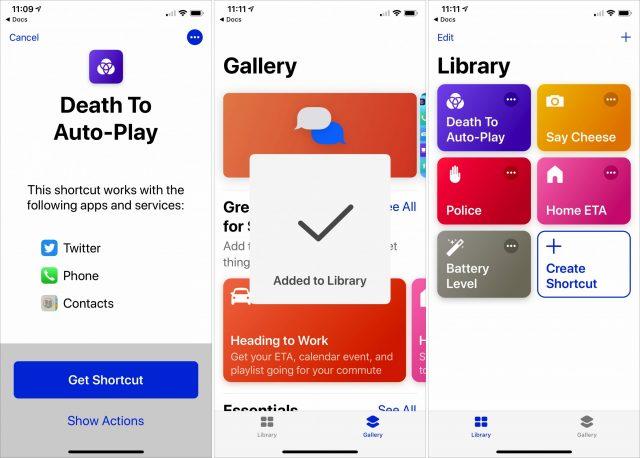 Screenshots of installing into the Shortcuts app