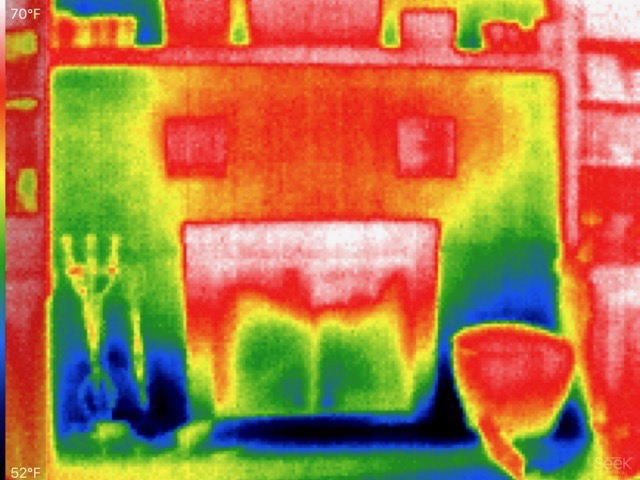 A thermal image of Dave's fireplace.