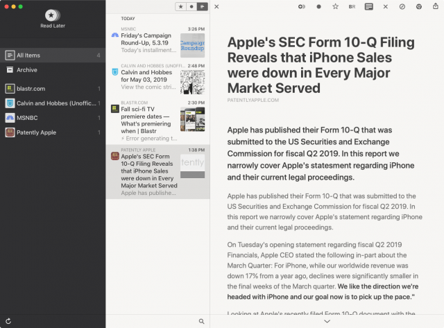 Reeder 4's Read Later feature