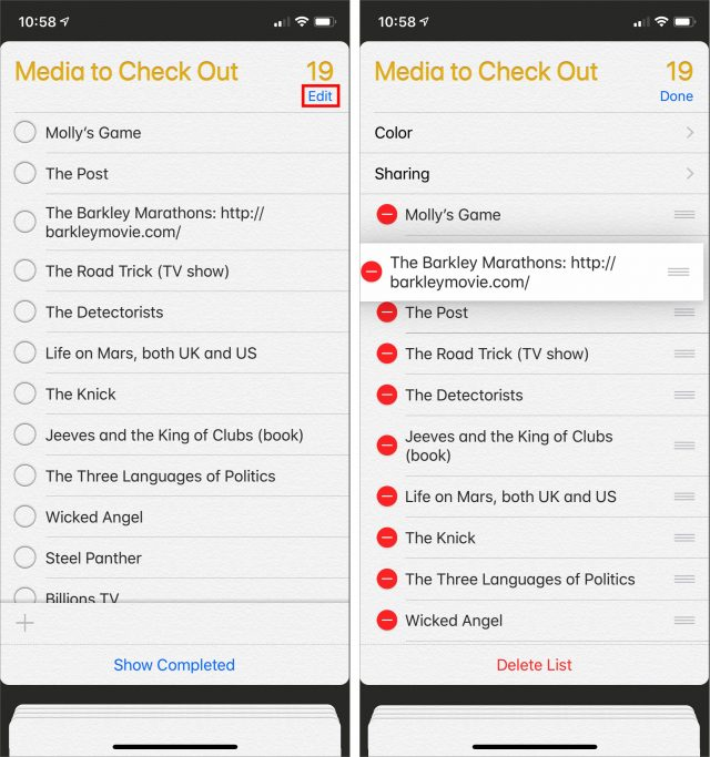 Screenshot of sorting in Reminders in iOS
