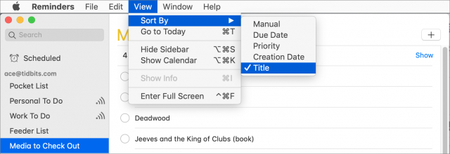 Screenshot of Sort By menu in Mac Reminders