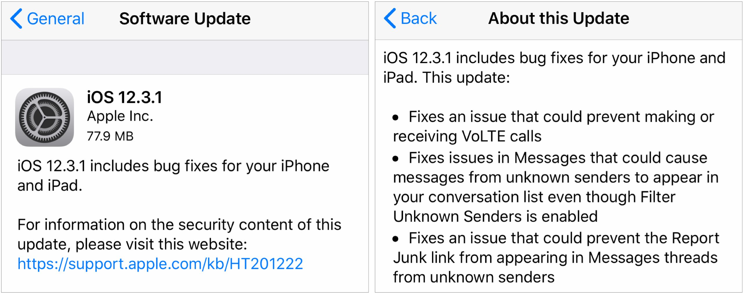 iOS 12 3 1 Fixes VoLTE Calling and Messages Bugs - TidBITS