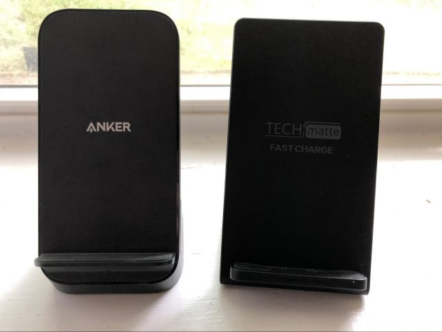 The Anker vs. TechMatte charging stands.