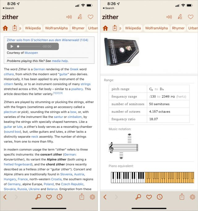 Wikipedia and WolframAlpha in Terminology