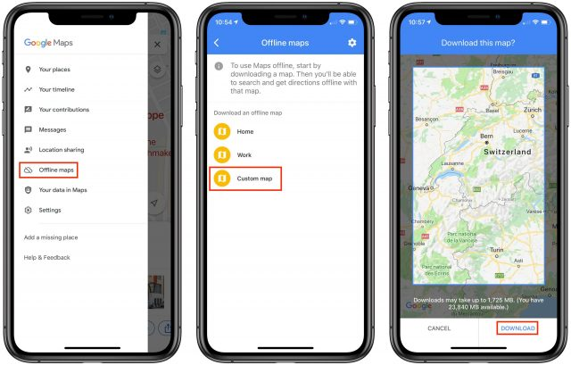 Screenshots of offline map use in Google Maps