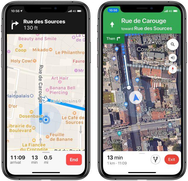 Screenshots of walking directions