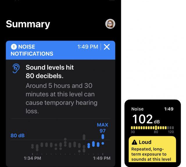 Noise warning in watchOS 6