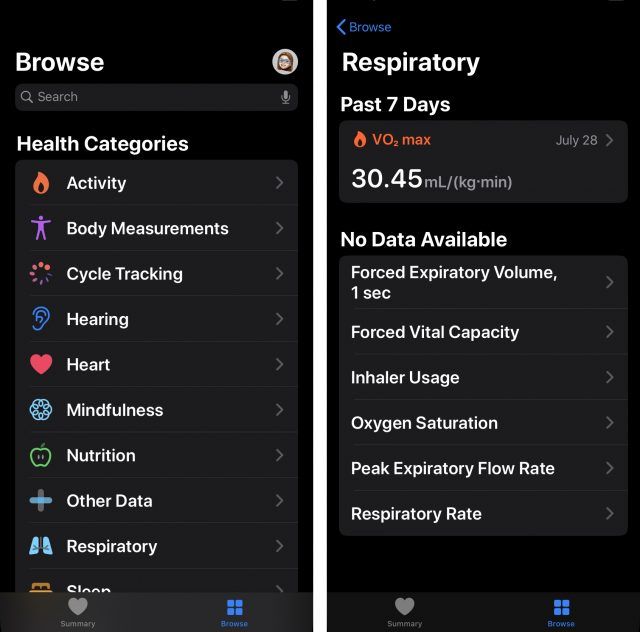 Browse in iOS 13 Health
