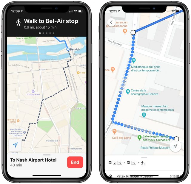 Screenshots of walking directions while in transit routing