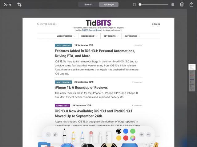 Full-screen markup in Safari