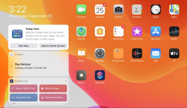 Today View on the iPadOS Home screen