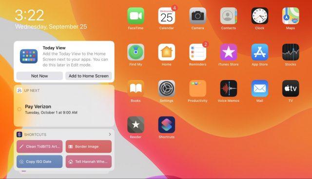 Vandaag-weergave op het iPadOS-beginscherm
