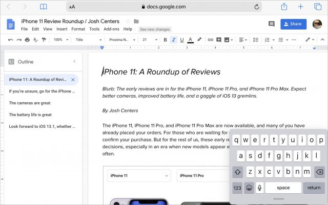 Google Docs in iPadOS Safari