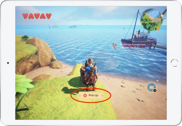 On-screen controller instructions in Oceanhorn 2