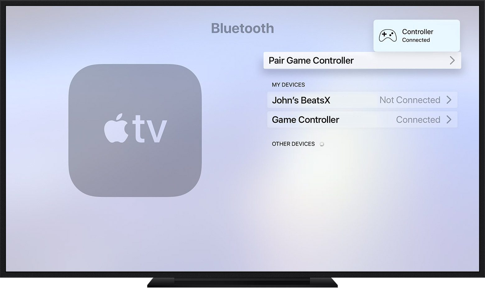 Pairing a controller to an Apple TV