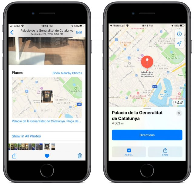 Screenshots showing the image location in Maps