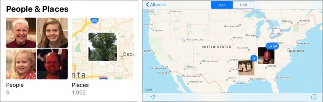 People and Places albums (left). Photo stacks located on the map (right).