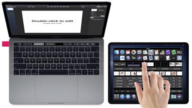 Basic shot of a custom control panel on an iPad controlling Keynote on the Mac