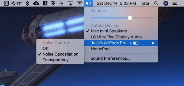 AirPods Pro UI on the Mac