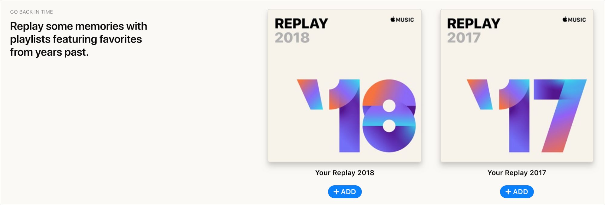 Replay playlists for 2017 and 2018