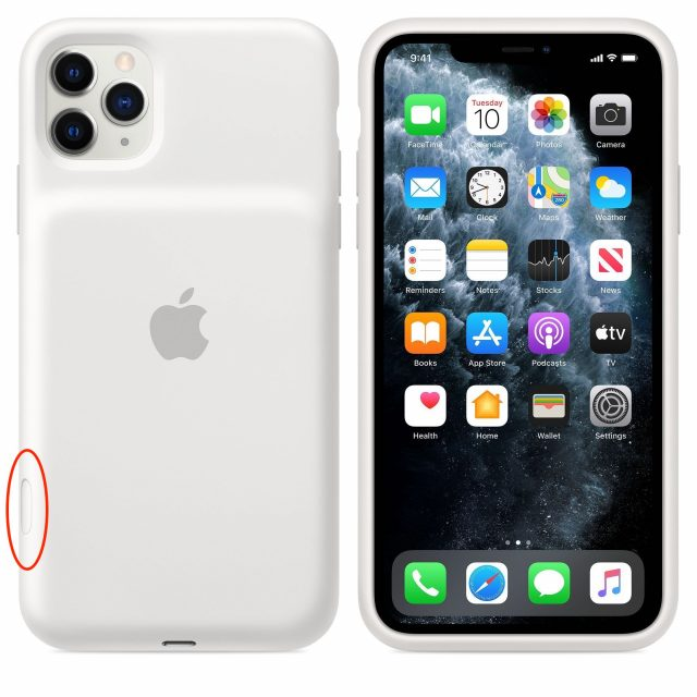 The camera button on the Smart Battery Case