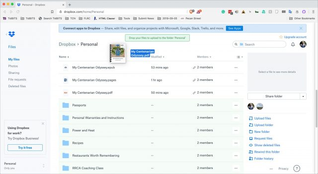 TipBITS: Replace a Shared Dropbox File without Changing Its Link