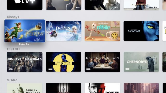 Streaming services in the Apple TV app