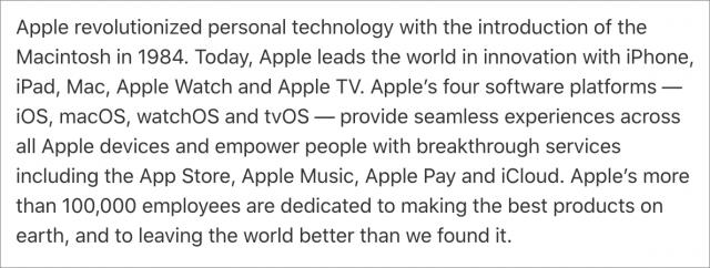 Apple press release boilerplate
