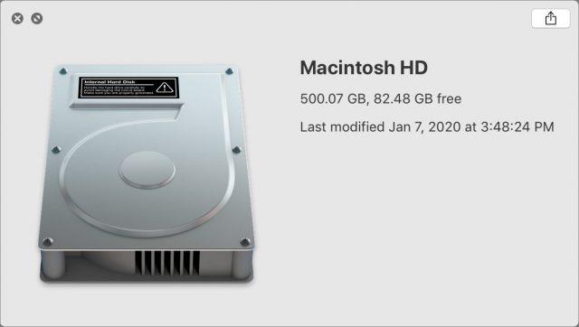 Quick Look window showing drive called Macintosh HD