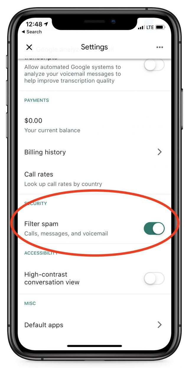 Filtering spam in the Google Voice app