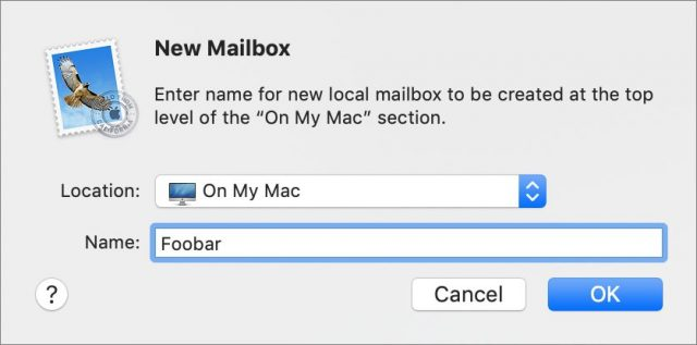 Creating a new On My Mac mailbox in Mail