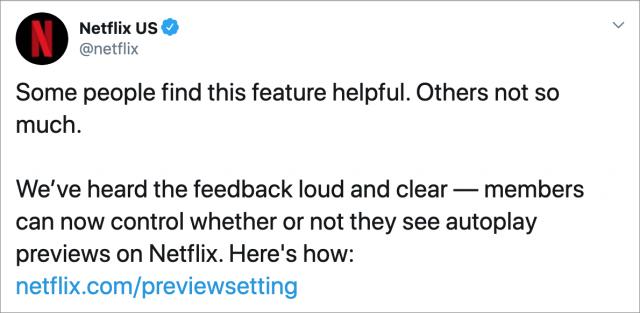 Netflix tweet about autoplay