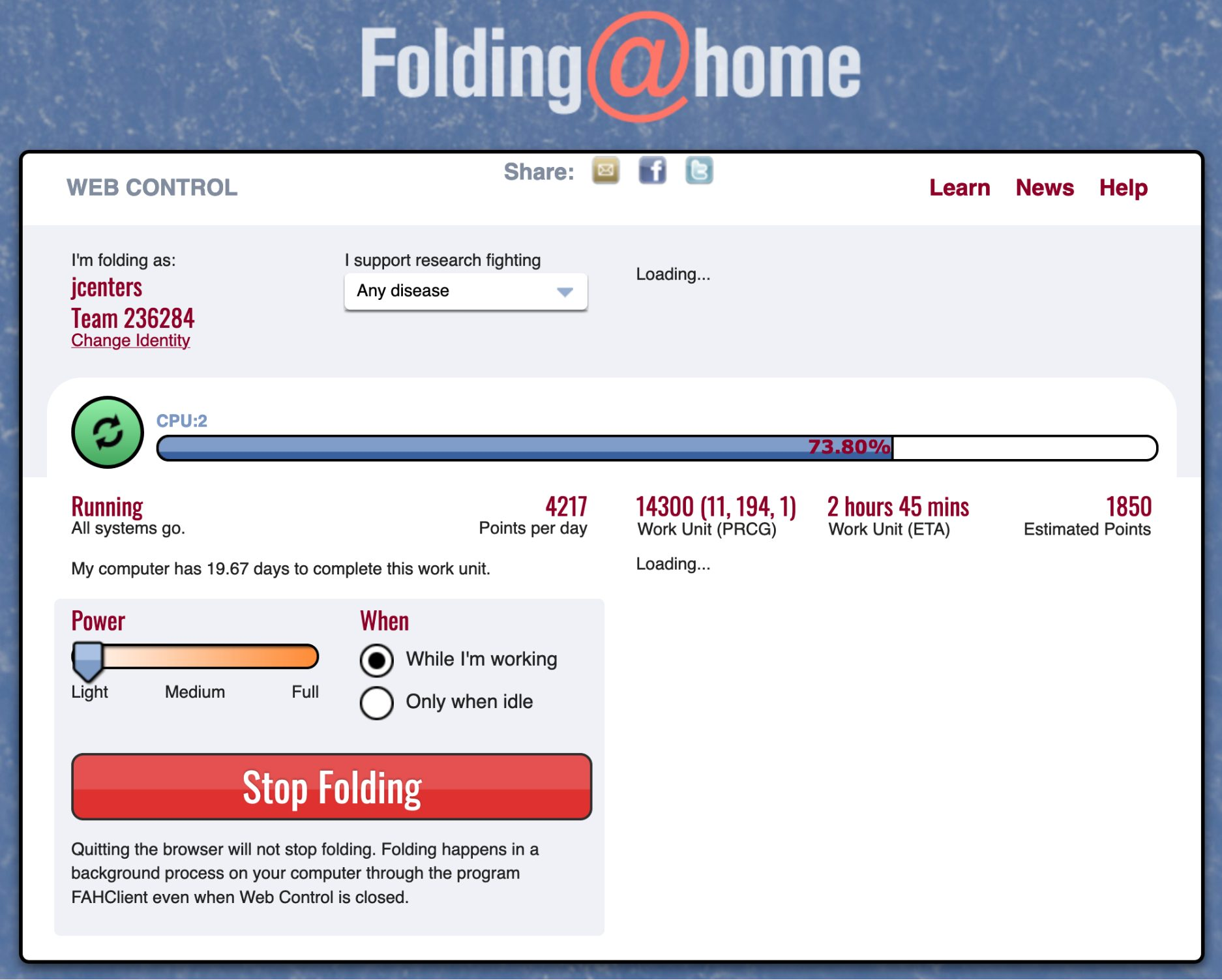 The Folding@home Web interface