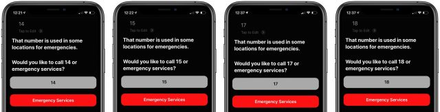Emergency calling interface for Siri with other numbers